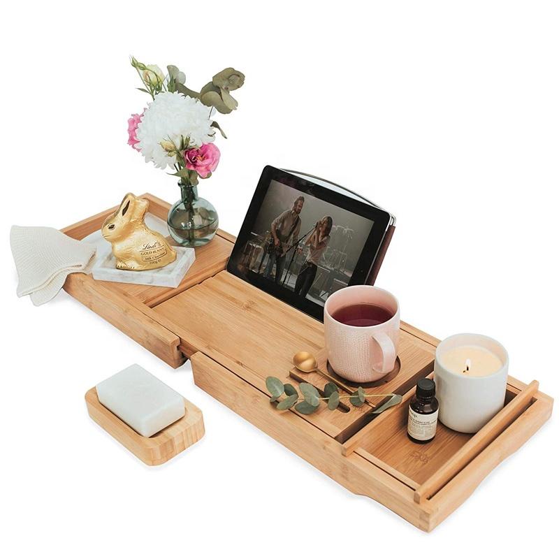 New Design Bathroom Accessories Wood Luxury Bathtub Caddy Bath Tub Tray