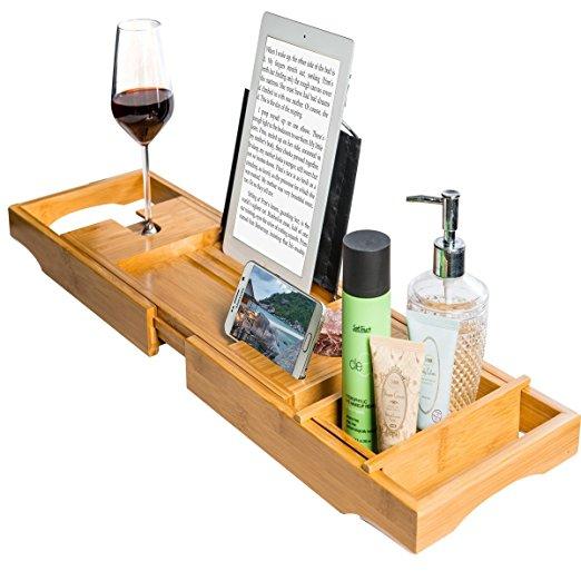 wholesale natural bamboo bathtub caddy tray organizer