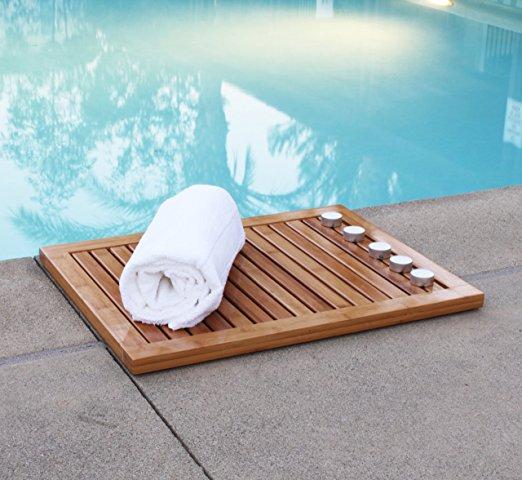 Modern anti slip bamboo bathroom shower mat