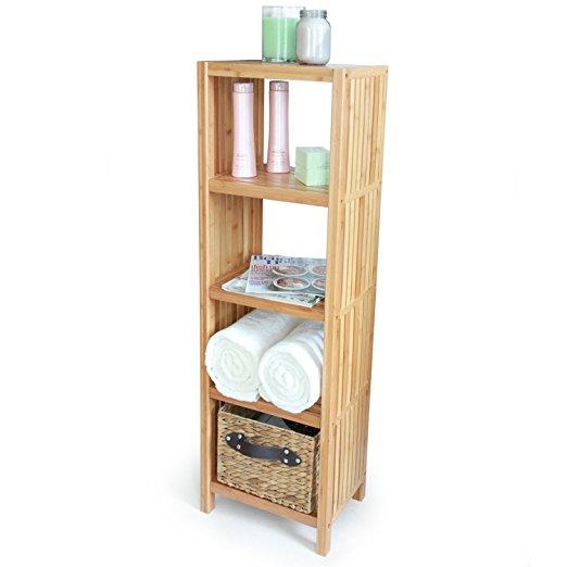 100% bamboo bathroom shelf 4-tier multifunctional storage rack