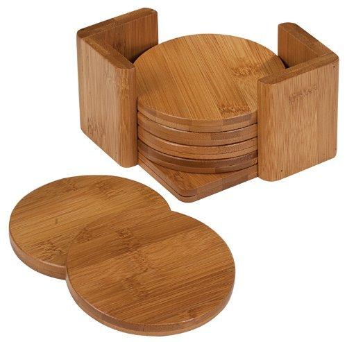 Custom bamboo tea wooden coaster set