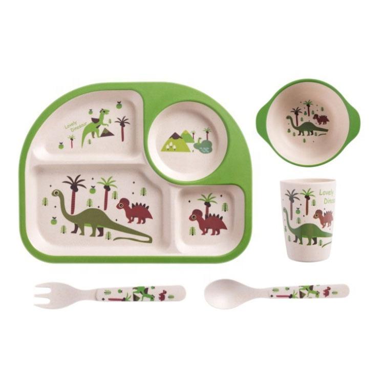 Baby Set Dinnerware Spoon Bowl Kids Plate Bamboo Fiber 5pcs Feeding Tableware set