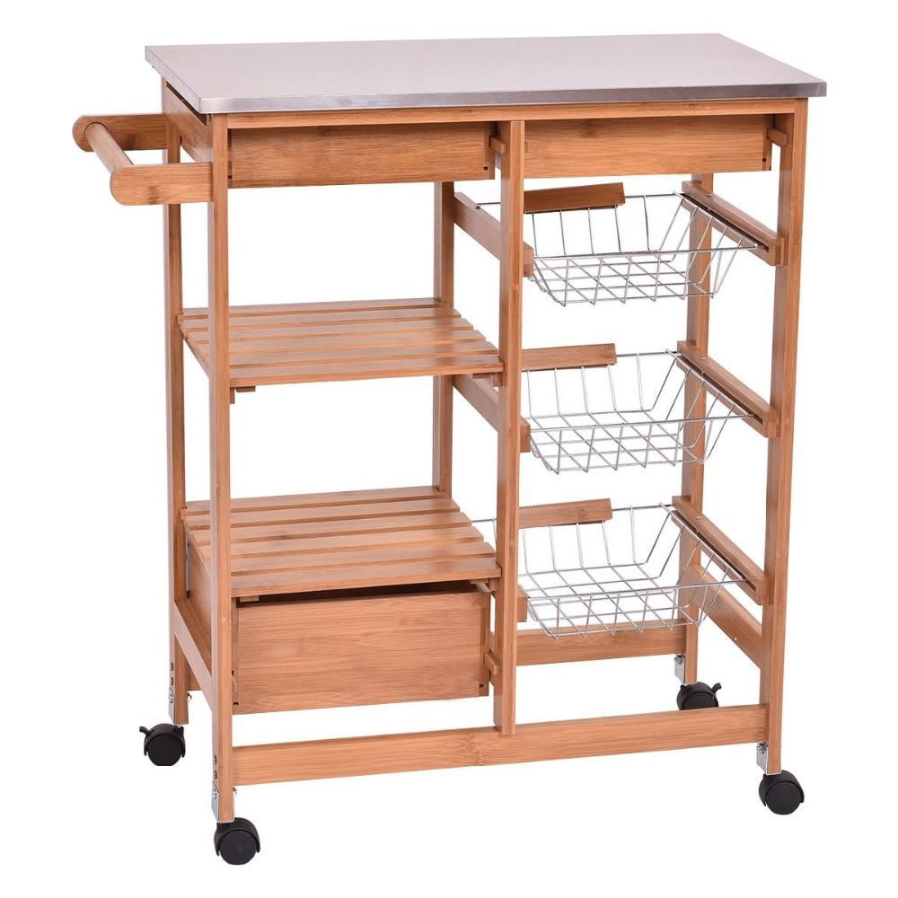 folding wooden kitchen trolley
