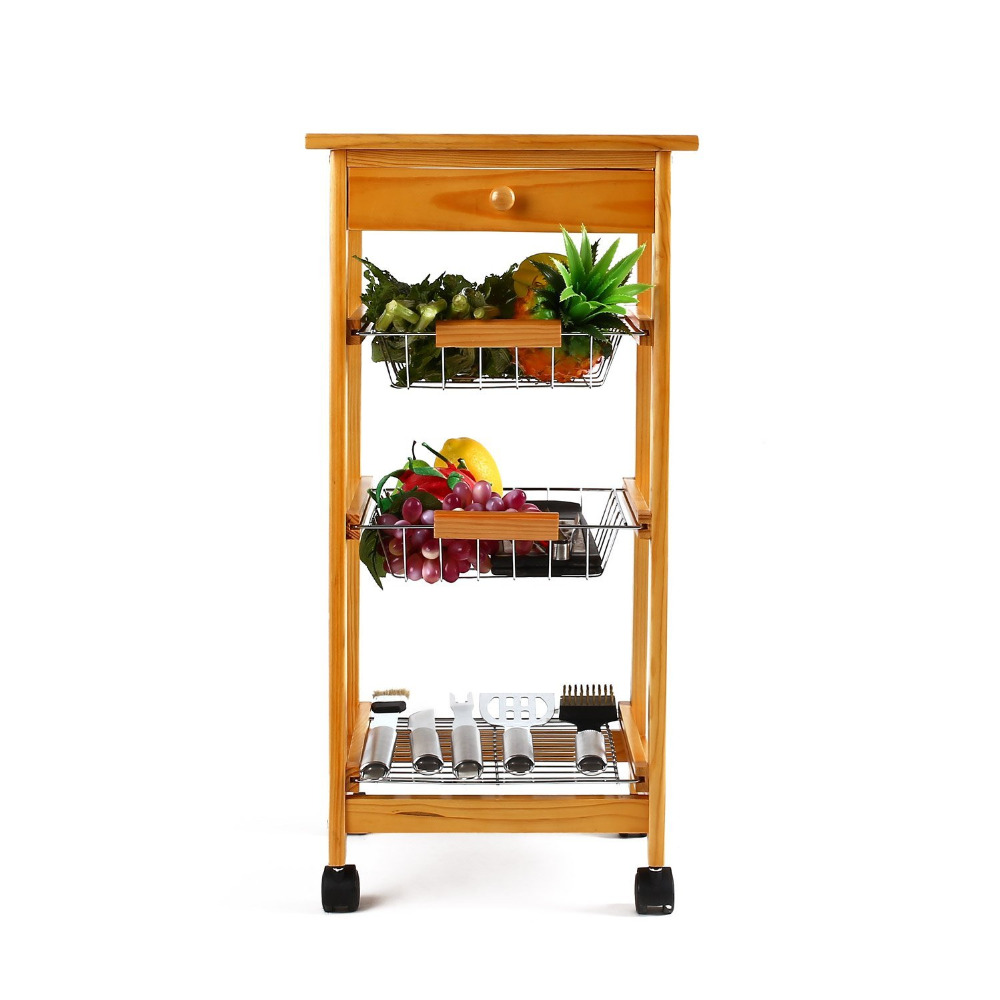 tile top wooden kitchen trolley