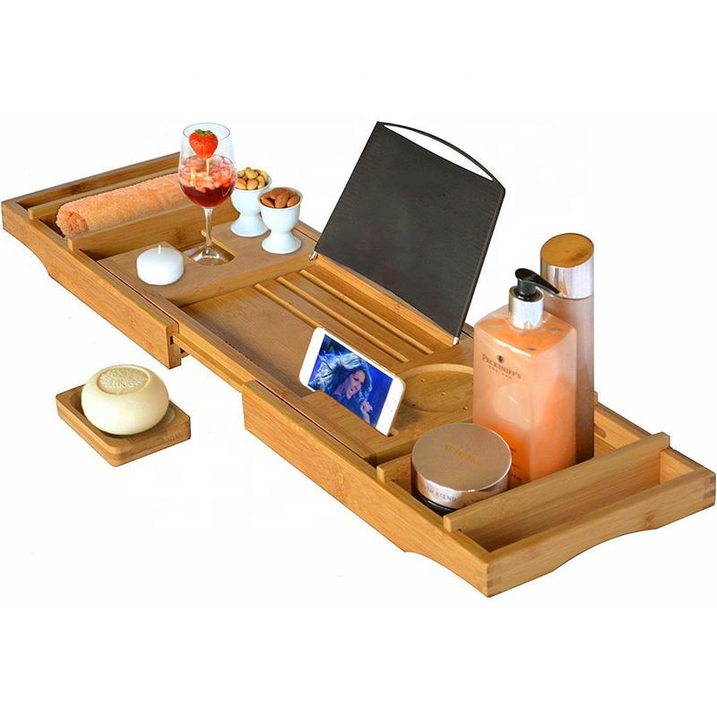 Expandable Bamboo Bathtub Bath Caddy Tray