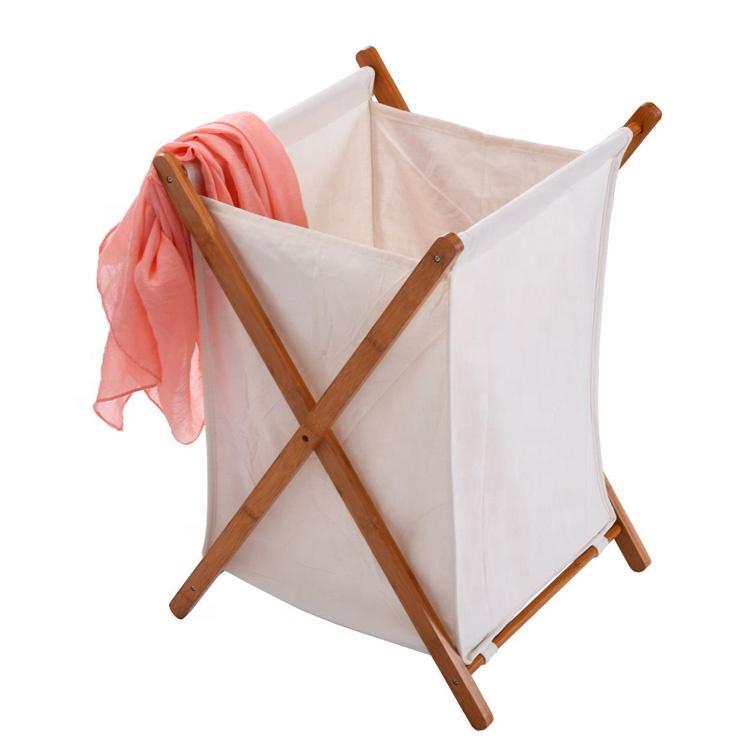 Household Folding Bamboo Laundry Hamper Clothes Storage Basket
