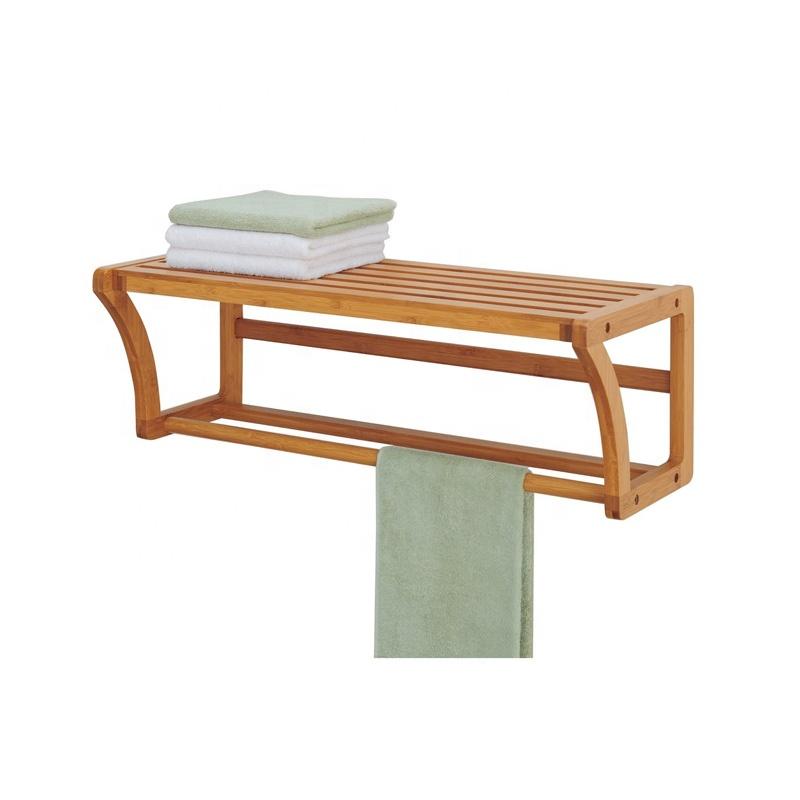 Bamboo Wall Mounted Floating Shelf Coat Rack For Entryway, Hallway, Bedroom, Bathroom, Living Room
