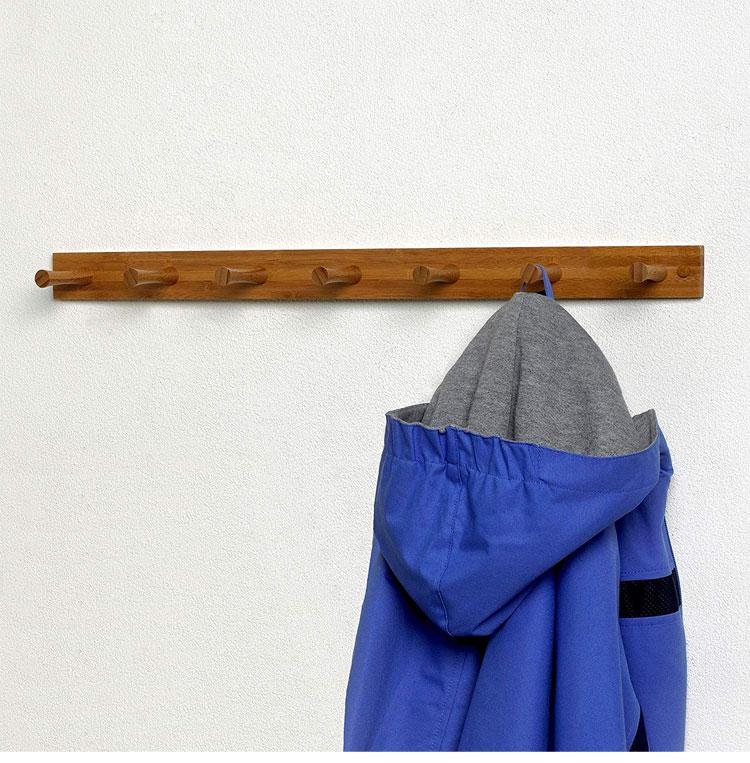 Bamboo 7 Peg Diversified Wood Wall Hook Rack