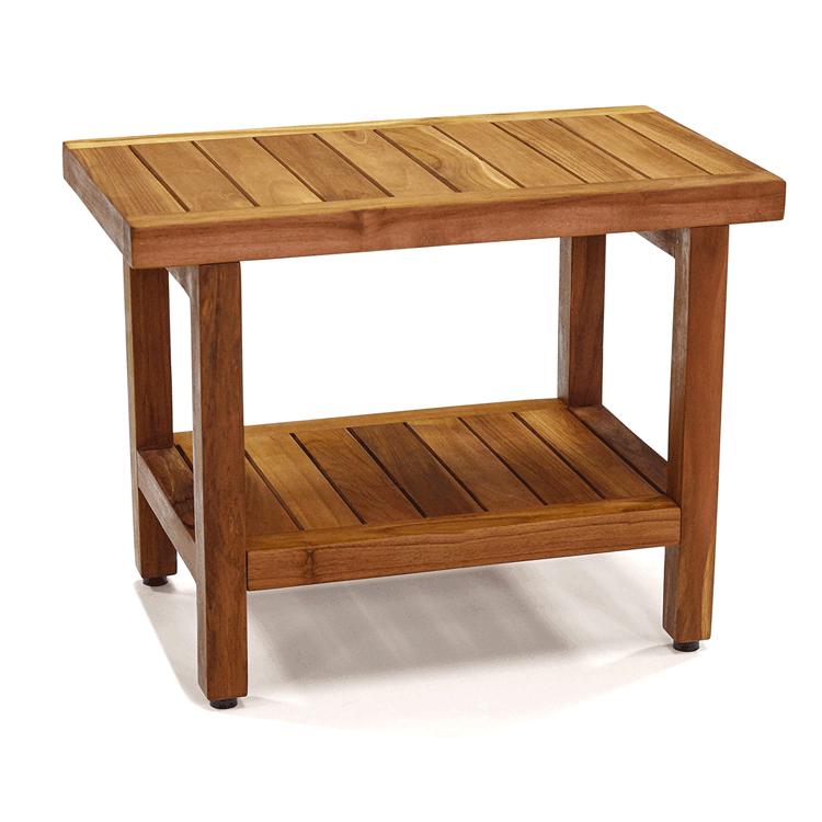 Teak Wood Bathroom Shower Chair Seat Living Room Bench Bath Stool Hallway Chair