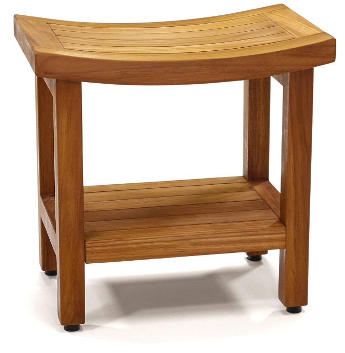 18'' Waterproof Bamboo Teak Wood Shower Bench Spa Seat Bathroom Chair With Shelf