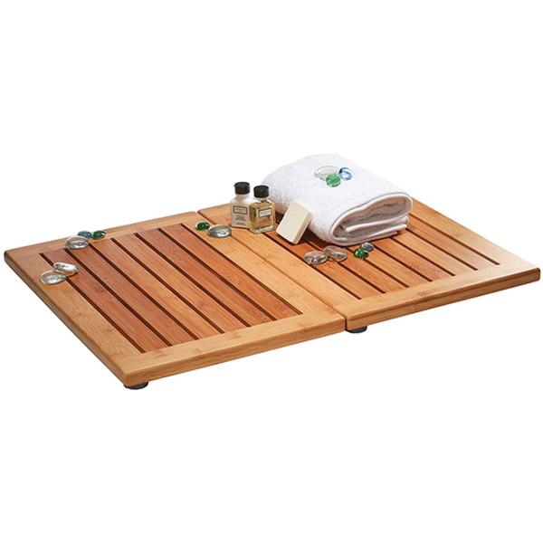 Luxury Bamboo Bath Mat - Non-Slip Shower Floor Mat for Bathroom and Spa Folds for Easy Storage