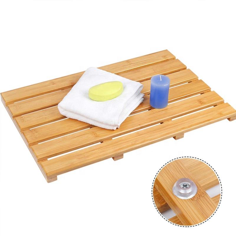 Bamboo Shower Mat Square Bath & Floor Mats Non-Sliding Waterproof