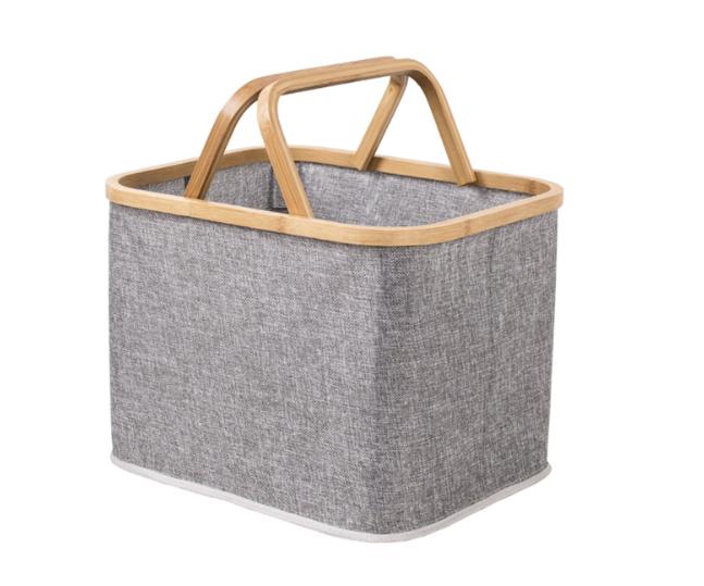 Simple bathroom storage laundry basket folding bamboo hand basket large capacity storage fabric basket