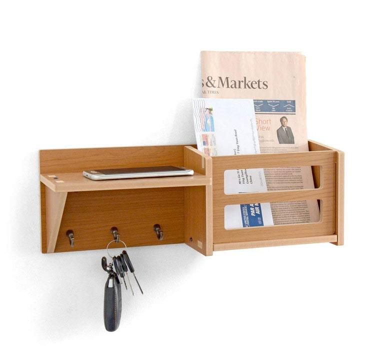 Hooks Mail Organizer Wall Mount Wood Hanging Shelves Key Holder for Wall Decorative, Entryway Shelf