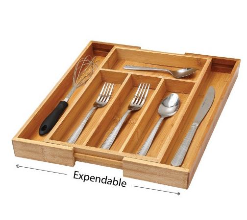 expandable bamboo drawer organizer