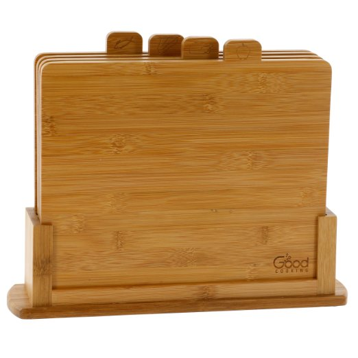 Bamboo Cutting Board and Stand Set