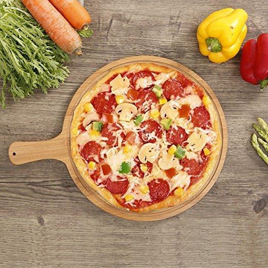 Premium bamboo wood cutting board circular pizza cutting board heavy duty made of quality bamboo ...