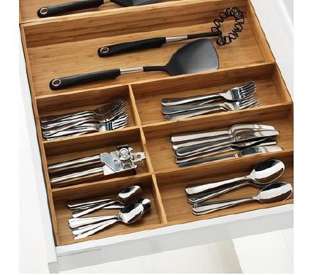 Small storage Enjoy large space---bamboo drawer organizer