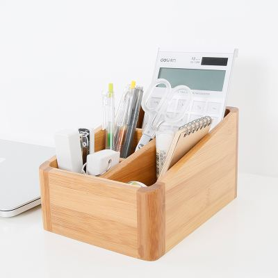 Say goodbye to the dirty desktop, just a small Bamboo wooden storage