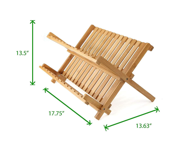 collapsible dish drying rack bamboo 2
