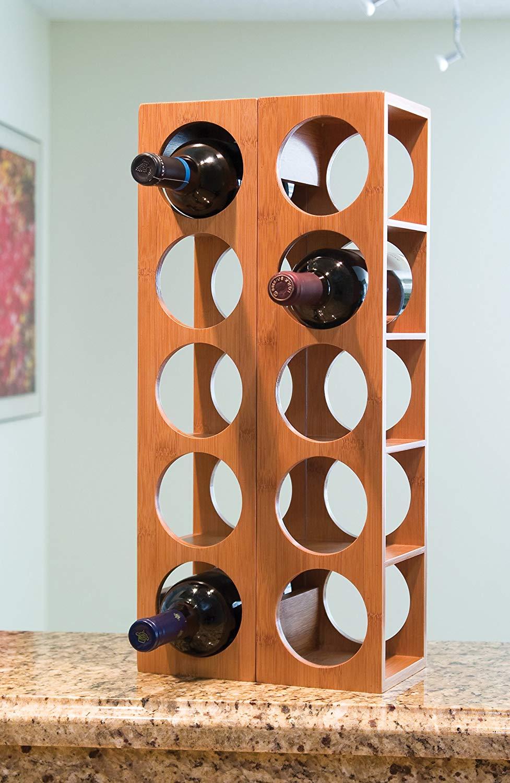 bamboo wood stackable 5-bottle wine rack 4