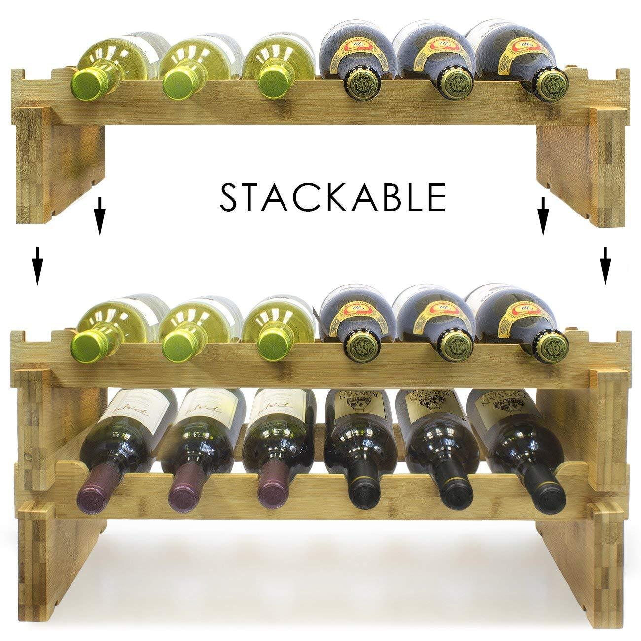 3-Tier Stackable Bamboo Wine Rack 4