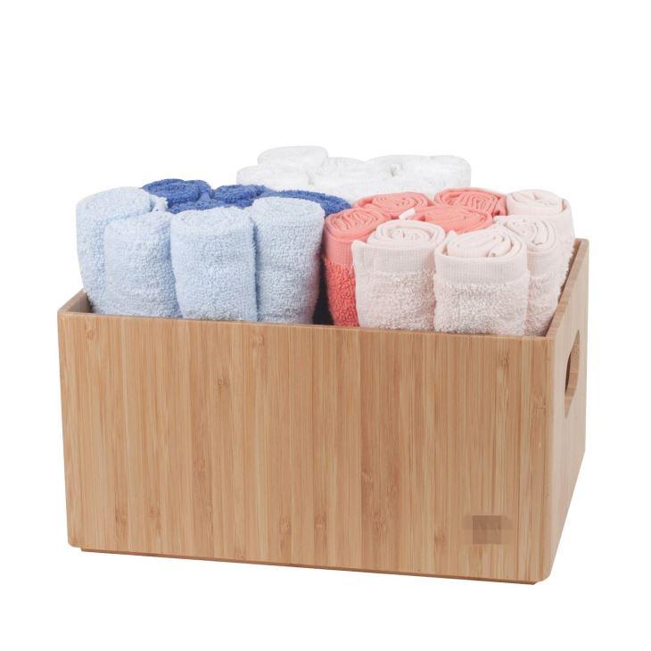 Bamboo Bathroom Bin Organizer For Toiletries, Make Up & Cosmetics, Brushes