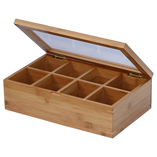 Bamboo Tea Box Organizer With 8 Storage Compartments And Slide Out Drawer For Tea Accessories