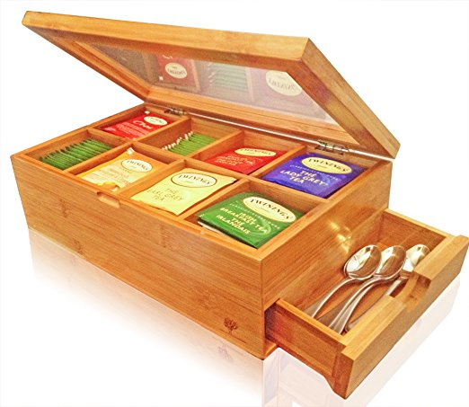 Best Bamboo Tea Box With Clear Hinged Lid,8 Storage Sections With Expandable Drawer