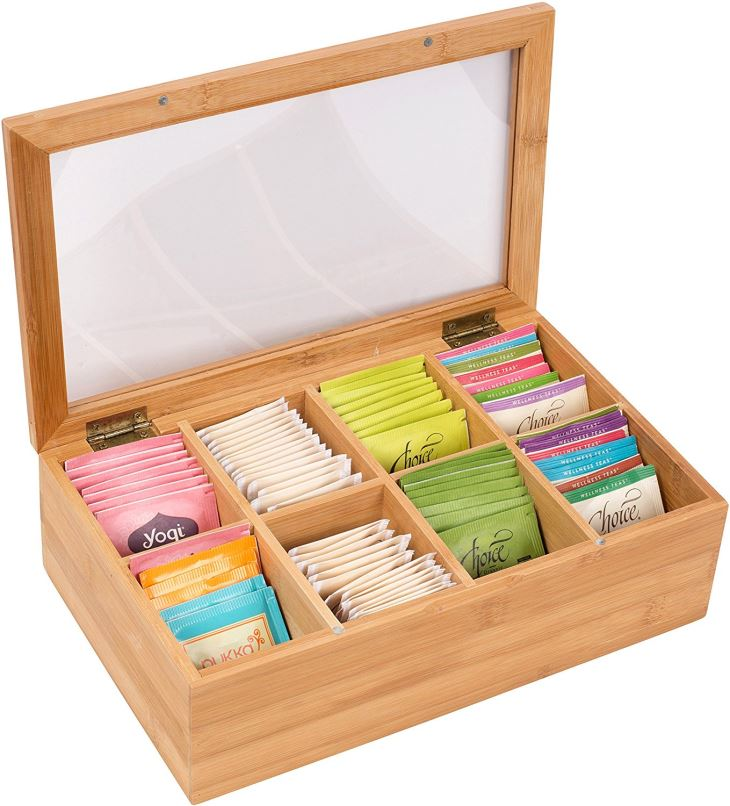 12 Bamboo 8-Section Tea Storage Box