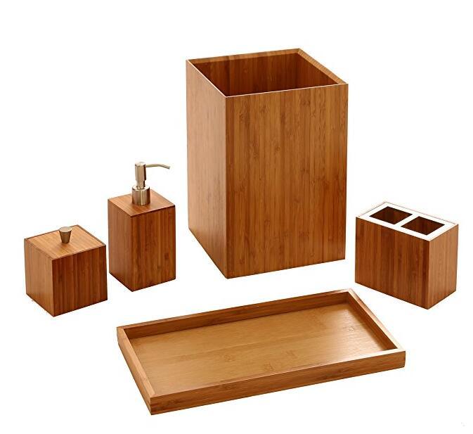 Bamboo Bathroom Accessory Set Wholesale