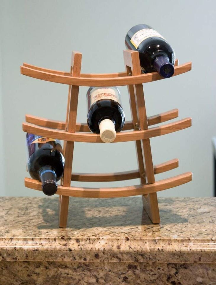 Bamboo Wood 9-Bottle Wine Rack