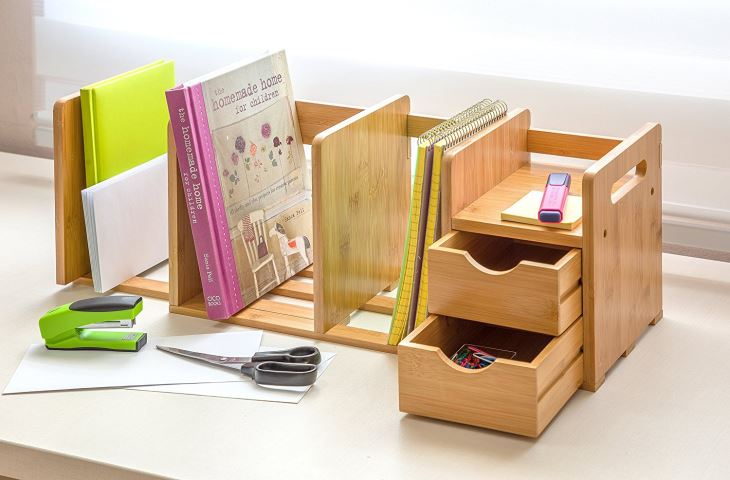 Bamboo Wood Desk Organizer Rack