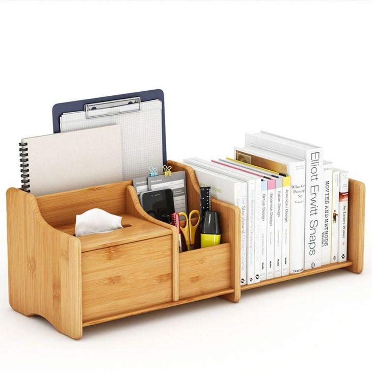 Extendable Bamboo Desk Organizer