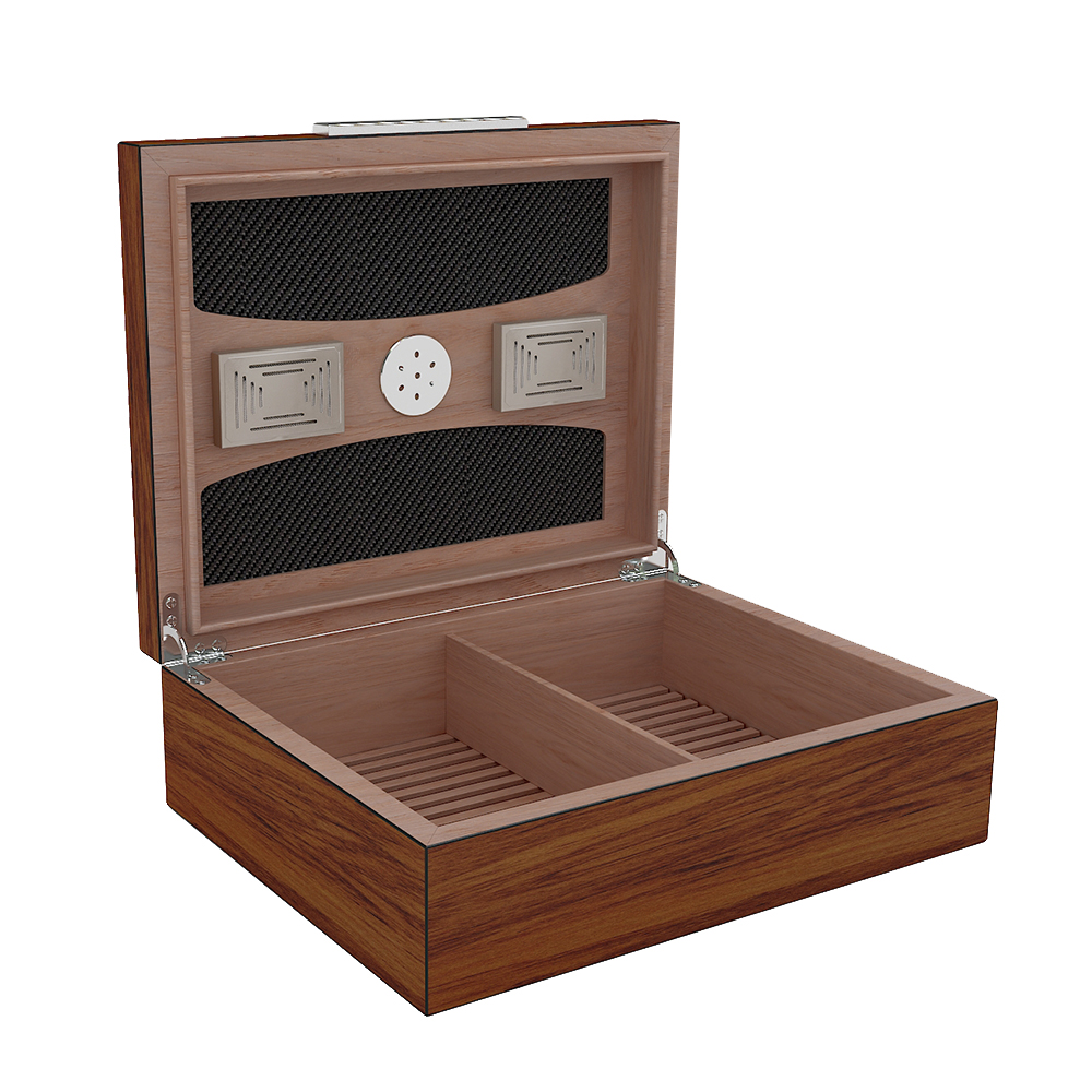 Latest Design Solid Wood Cigar Humidor Hold 30-50 Cigars of Wooden Grain Cigar Box