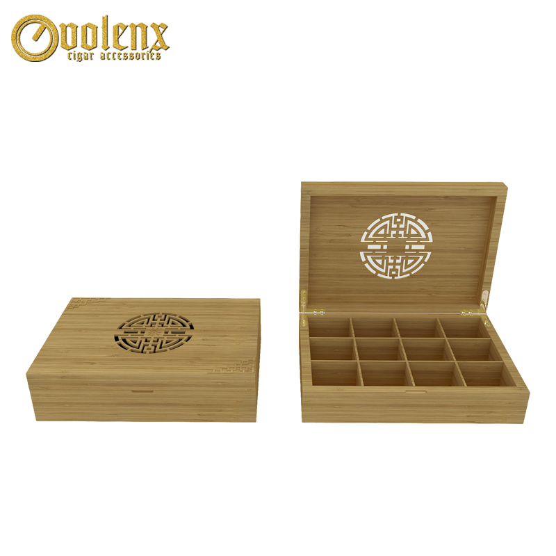 Custom Luxury 12 Compartments Wooden Tea Box with a Drawer 10
