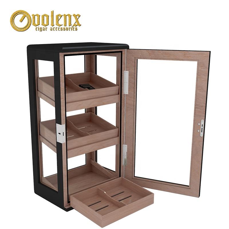 Single-Door-Black-Mahogany-Wooden-Cigar-Cabinet