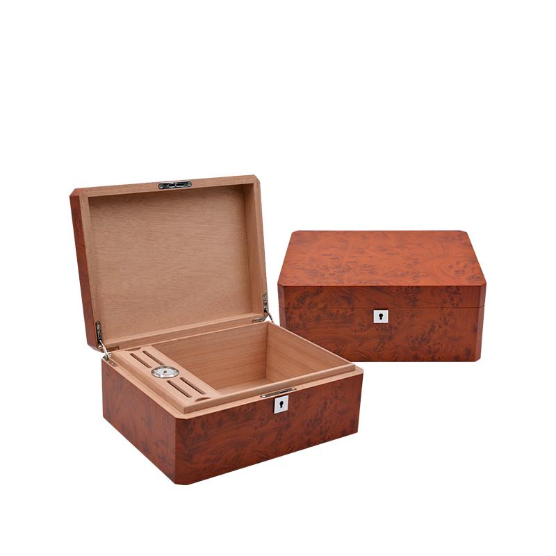 Custom Matt Finished Mahogany Cigar Box With Cigar Accessories 2