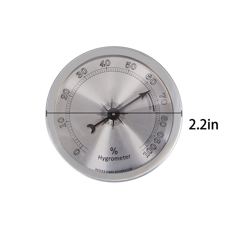 Premium Grade Volenx Silver Round Cigar Hygrometer for Humidor 2