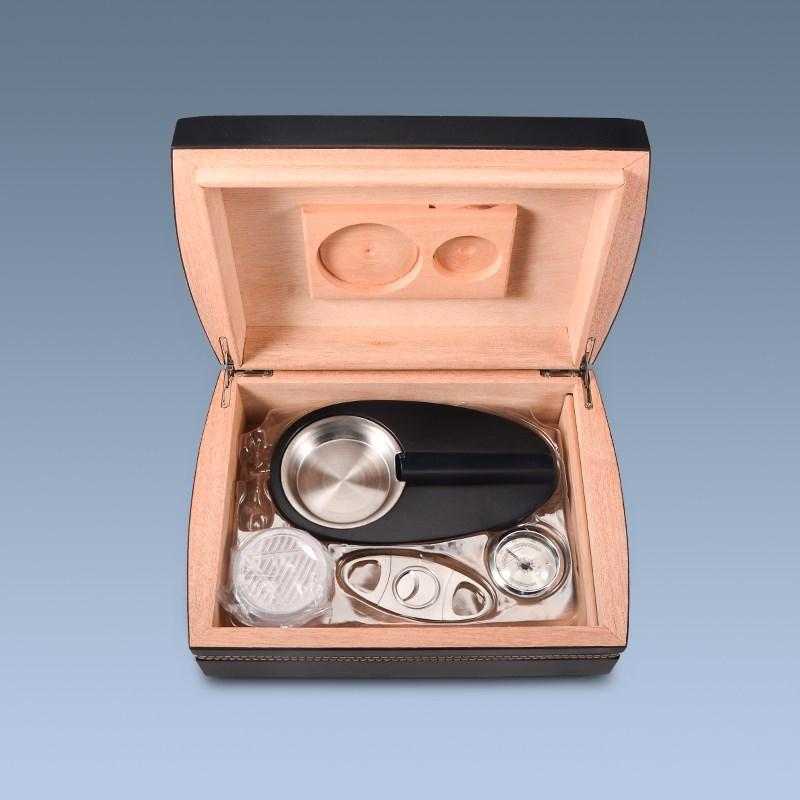 Black matt wooden cigar box with accessories
