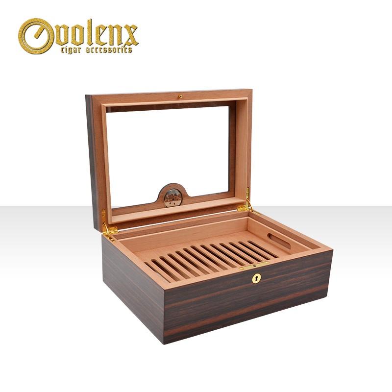 High gloss finish handmade wooden cigar humidor with glass window 5