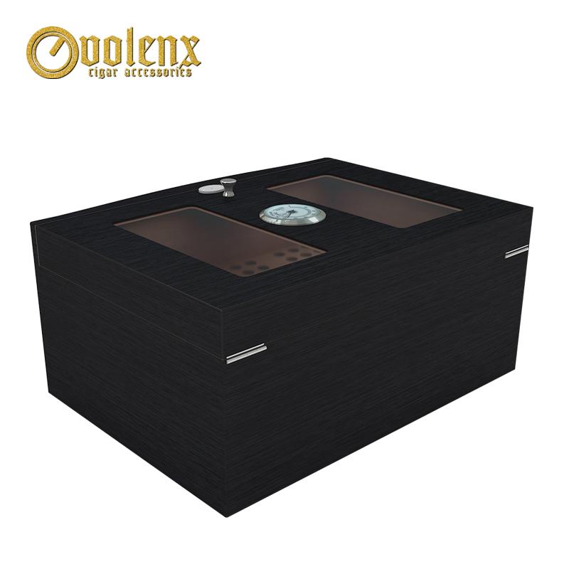 glass top black woodne cigar humidor 6