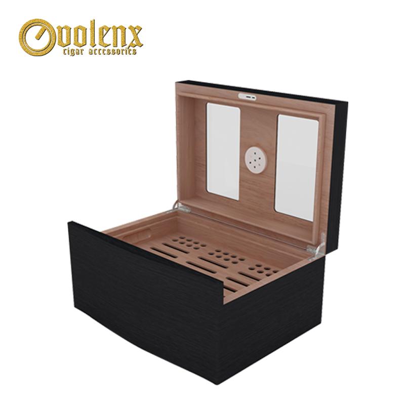 glass top black cigar humidor 2