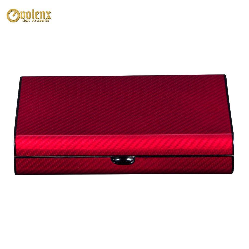 Volenx Custom Desktop Wooden Red Carbon Fiber Cigar Humidor