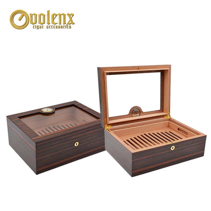 New ebony design top glass cigar humidor boxes