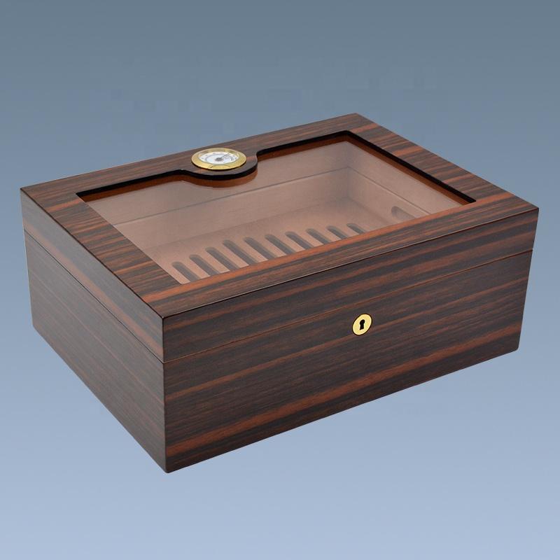 Wholesale   Luxury Glass Top Wooden Cigar Humidor 3