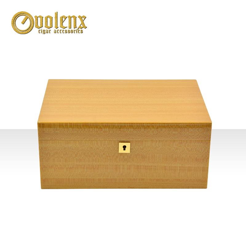 Luxury yellow glossy custom humidor wooden cigar box 7