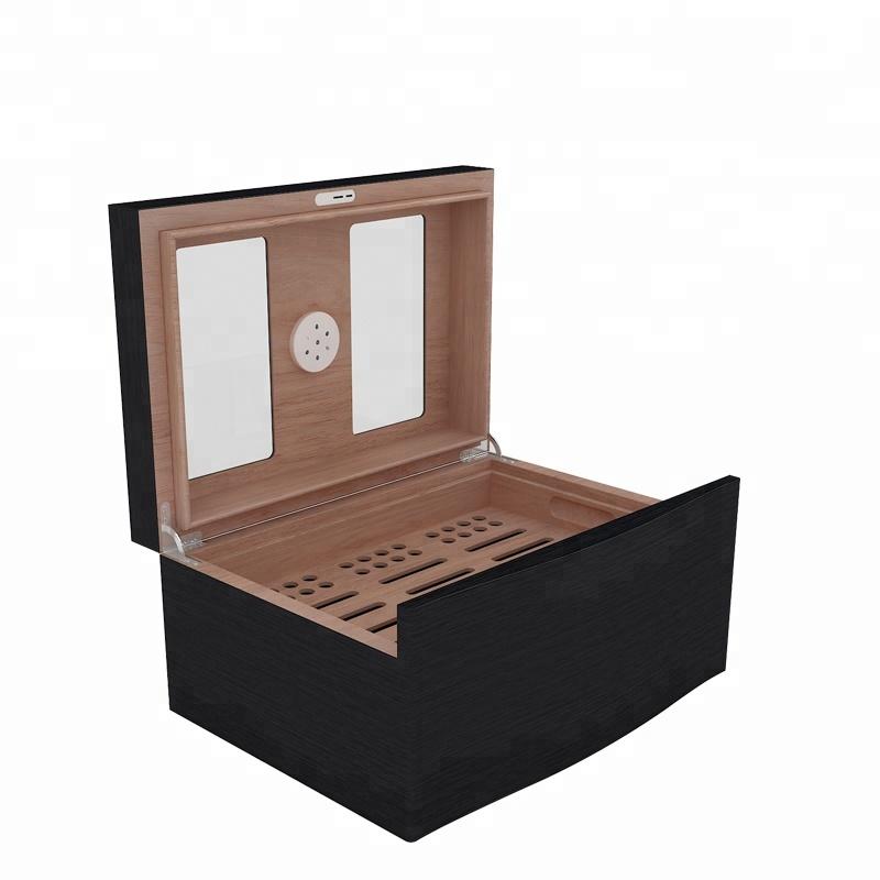 Made In China Glass Top Wooden Cigar Storage Humidor Box