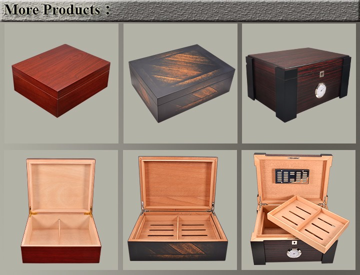 New Design Handmade Wooden Cigar Humidor Cigar Desktop Box Cedar Veneer Inside 9