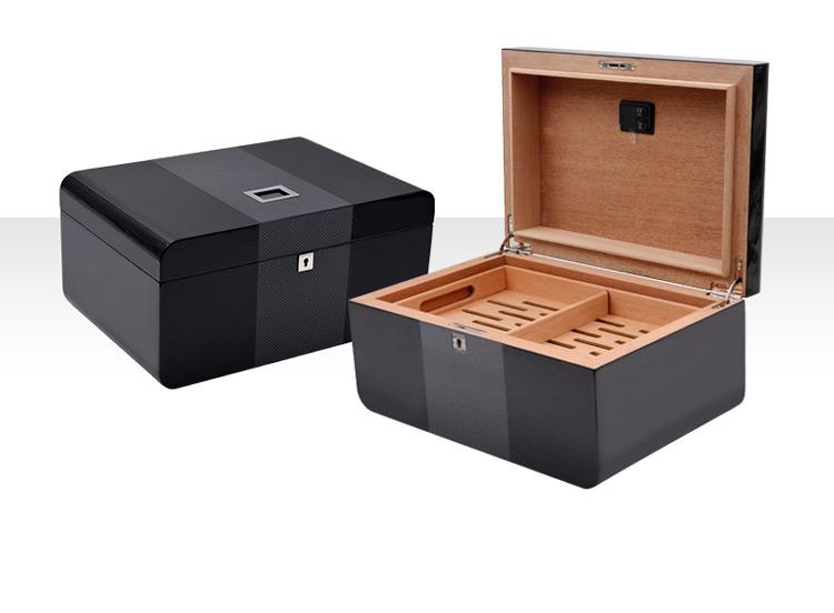 Cigar box with digital hygrometers black cigar humidor custom
